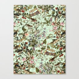 Floral and Birds X Canvas Print