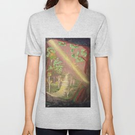 Faery forest cave Unisex V-Neck