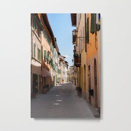 Narrow street with old facades in a tuscany village Metal Print