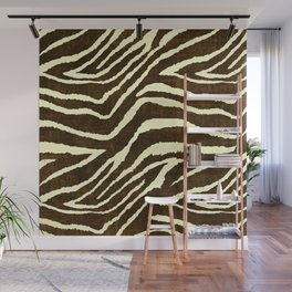 Animal Print Zebra in Winter Brown and Beige Wall Mural