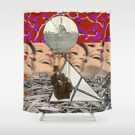 Our intrepid balloonist reports on the two aspects of love Shower Curtain