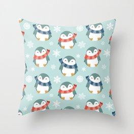 Winter penguins pattern Throw Pillow