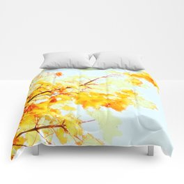Yellow Maple leaves, Autumn Unfolds Comforters