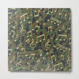 Music Note Camo WOODLAND Metal Print