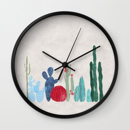 Cactus Garden on light background Wall Clock