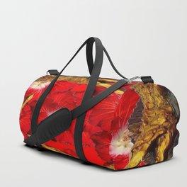 RED BLOODY HIBISCUS FLOWERS ALLIGATORS GOLD ART Duffle Bag