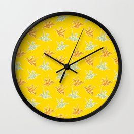 Yellow Origami Crane Japanese Kimono Pattern Wall Clock