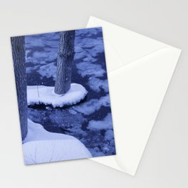 Winter Ice Surrounds Young Trees In The Otonabee River Stationery Cards
