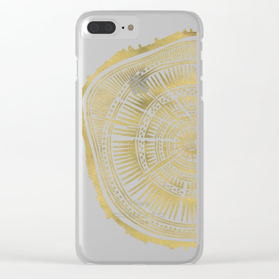 Paper Birch – Gold Tree Rings Clear iPhone Case
