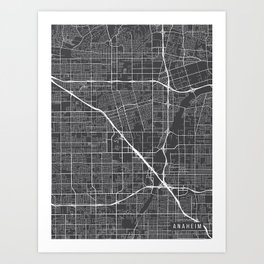 Anaheim Map, California USA - Charcoal Portrait Art Print