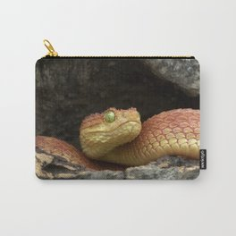 Bush Viper (Red) in Hollow Log  Carry-All Pouch