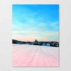 Village scenery in winter wonderland Canvas Print
