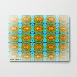 abstract, pattern, jacks, fun, orange, yellow, red, green, aqua, bunny clarke Metal Print