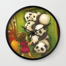 A cupboard of pandas Wall Clock