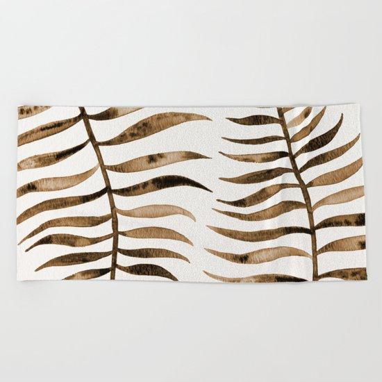 Palm Leaf – Sepia Beach Towel