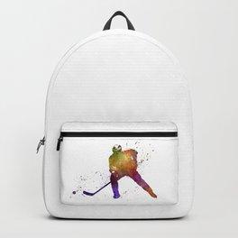 Hockey skater in watercolor Backpack