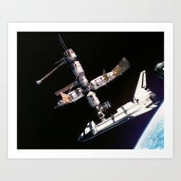 Space Shuttle Space Station Mir Dock Art Print
