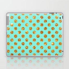 Chic Gold Glitter Polka Dots Pattern On Turquoise Laptop & iPad Skin