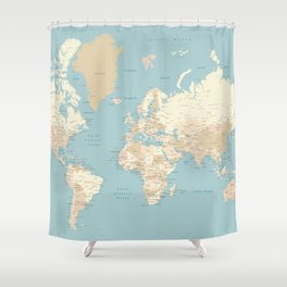 "Cream, brown and muted teal world map, ""Jett"" Shower Curtain"