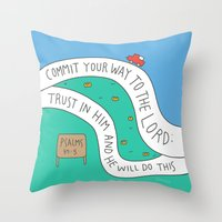 bible verses Throw Pillows featuring bible message by ssongso