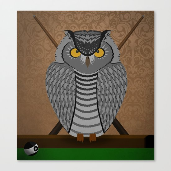 owl playing billiards Canvas Print