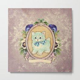 Kitschy Blue Kitten Metal Print