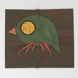Green Button-Eye Spider-Bird Throw Blanket