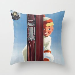 Joues Roses - Vintage French Ski Poster Throw Pillow
