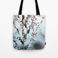 poem Tote Bags featuring poem building by Sarah E. Roy