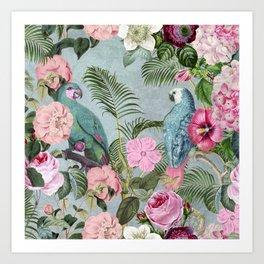 Parrots Jungle Rendevous Art Print
