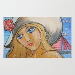 Portrait of beauty girl Nelly in large hut painting by Ksavera Rug
