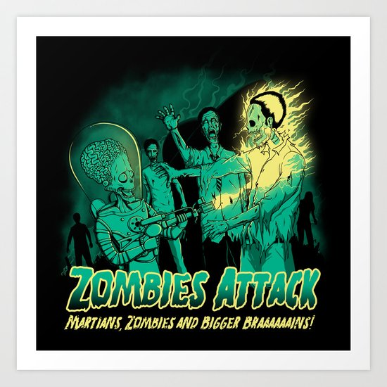 Zombies Attack Art Print
