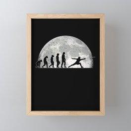 Fencing Evolution Moon Fencer Sport Framed Mini Art Print