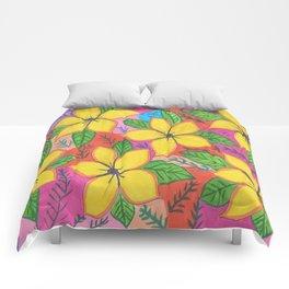 Tropical Plumeria Flowers Comforters
