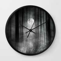 justin timberlake Wall Clocks featuring Dark by Viviana Gonzalez