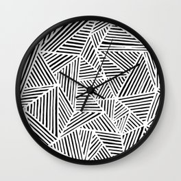 abstract black and white random triangles Wall Clock