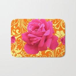 PINK ORANGE  ROSE SCROLLS GARDEN ART PATTERN Bath Mat