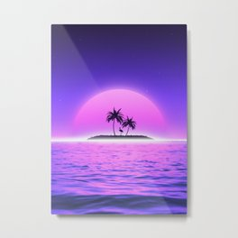 Flamingo Beach Sunset Metal Print
