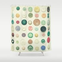 cassia beck Shower Curtains featuring The Button Collection by Cassia Beck