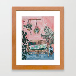Rattan Bench in Painterly Pink Jungle Room Framed Art Print