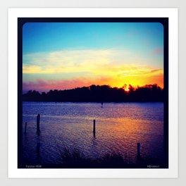 Sunset Over Wallis Lake Art Print
