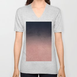 Modern abstract dark navy blue peach watercolor ombre gradient Unisex V-Neck