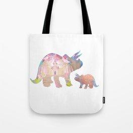 Fairytale Pink Castle Copper Glitter Dinosaur Tote Bag