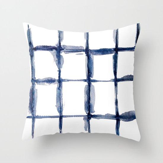 Watercolor indigo Shibori  Throw Pillow