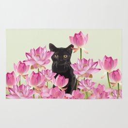 Lotus Flower Blossoms Black Cat Rug