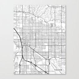 Tucson Map, Arizona USA - Black & White Portrait Canvas Print