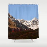snowboarding Shower Curtains featuring Hatcher Pass Termination Dust by Alaskan Momma Bear
