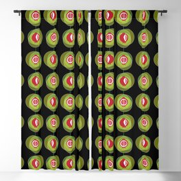 Pomegranate wind chime with black background Blackout Curtain