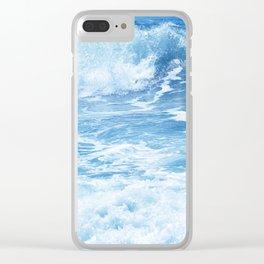 Blue Hawaiian Tropical Surf Clear iPhone Case