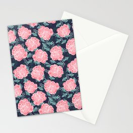 Peony Flowers navy pink and white modern colors for office home or college dorm decor Stationery Cards